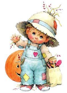Ruth Morehead artist ~ scarecrow trick-or-treater ~ Halloween Halloween Illustration, Cute Illustration, Halloween Images, Halloween Cards, Holidays Halloween, Vintage Halloween, Cute Images, Cute Pictures, Pintura Country