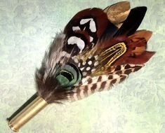 Feather corsage bullet hunting hat pin hunting pheasant Game Fedora gold case l