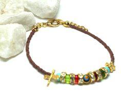 Semiprecious stone bracelet in brown with Turkish lucky by SURMARA, €14.00