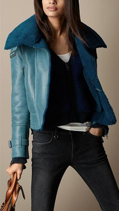 Oversize Collar Shearling Jacket | Burberry