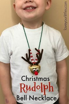 A festive Christmas craft for kids that celebrates Rudolph the red nosed reindeer! Children of all ages can do this fun and easy craft. Kids will enjoy wearing it all season long! #kidcrafts #craftsforkids #creativekids #christmascrafts #jewelrymakingforchildren #christmascraftsforkids #christmasforkids