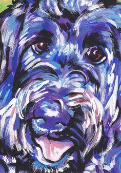"labradoodle art print of pop dog art painting bright colors 8.5x11"" LEA"