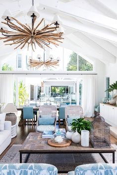 House of Turquoise: Cove Interiors - Australian beach coastal relaxed style living room with wicker chairs, pitched ceiling, white walls, turquoise accents Coastal Living Rooms, Coastal Cottage, Coastal Homes, Coastal Style, Coastal Decor, Coastal Living Magazine, House Of Turquoise, Turquoise Accents, Style Deco