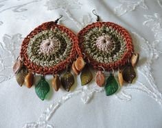 Native American inspired cyclic crochet earrings