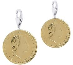 Vicenza Silver Sterling Set of 2 200-Lire Coin Charms