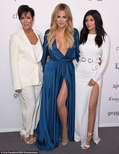 Khloe K wears gaping gown with Kylie and Kris Jenner to promote show #dailymail