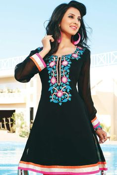 Black Viscose Embroidered Party and Festival Kurti Sku Code:338-3459KT708303 Price: $64