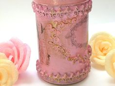 Hand Painted Canister with Golden relievo by InspirellaDesign