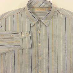Tommy Bahama Blue Shirt Mens Size XL Extra Large Yellow White Stripe 100% Cotton #TommyBahama #ButtonFront #ArtieBobs #MensFashion