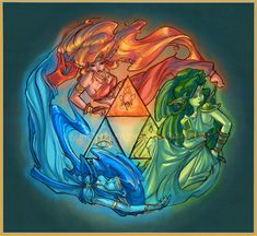 The Legend of Zelda, The Goddesses (Din, Nayru, and Farore) / The Balance of Hyrule by GoblinQueeen on deviantART