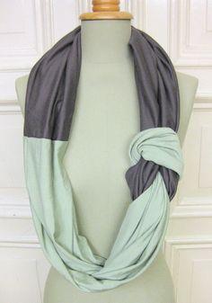 Tücher - °°inti_2°° loop aus jersey in schilf und grau - ein Designerstück von StAnderswo bei DaWanda