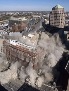 Dayton, Ohio: The view from the floor of the Liberty Bank Tower at and Ludlow as the Rikes/Lazarus building is imploded to make room for the Schuster Performing Arts Center. Photo by Skip Peterson. I worked on the floor for E. McDonald during the Royal Residence, Hobby Photography, Make Way, Dayton Ohio, Local History, South Of France, Back Home, Hobby Shop, In This Moment