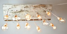 ON SALE 50% OFF Beach Style Salvaged Wood Chandelier with Edison bulbs