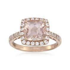 2.00 Carat Morganite and .50 ct. t.w. White Topaz Ring in 14kt Rose Gold
