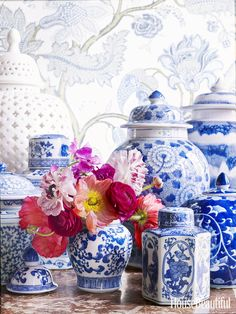 The only thing prettier than blue-and-white porcelain ginger jars is a spring flower arrangement in one.