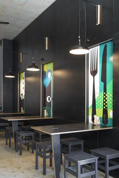 Artistic commercial public space design - Bar Testoni in Sydney is a contemporary place to pick up a sandwich and coffee in the Mosman area, standing out from the crowd by its heavy use of black, punctured by sections of colourful graphics. Restaurant Design, Design Bar Restaurant, Deco Restaurant, Bar Design, Coffee Shop Design, Design Ideas, Cafe Bar, Cafe Shop, Office Canteen