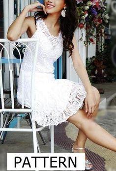 PATTERN- short sexy crochet dress summer mini beach wedding bride