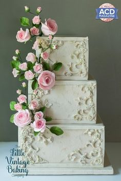 The Little Vintage Baking Company is a custom wedding cake design company sharing baking and dessert recipes, cake decorating tutorials and resources. Square Wedding Cakes, Wedding Cake Roses, Square Cakes, White Wedding Cakes, Elegant Wedding Cakes, Wedding Cake Designs, Rose Wedding, Bolo Floral, Wedding Collage