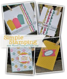 http://www.handstampedstyle.com shares how creating simple projects is a snap with the help of Boutique Borders and Simply Wonderful sets this month featuring the mini treat bag thinlit die.
