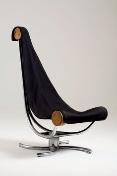 """Wood and Chromed Steel Network"" Chair"" by Sergio Bernades (1975)"