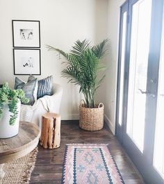 Tour- Michelle Janeen Bright White California Home. -Home Tour- Michelle Janeen Bright White California Home. Home Living Room, Apartment Living, Artwork For Living Room, Bright Apartment, Apartment Goals, Apartment Furniture, Bedroom Apartment, Plants In Living Room, Living Room Corner Decor