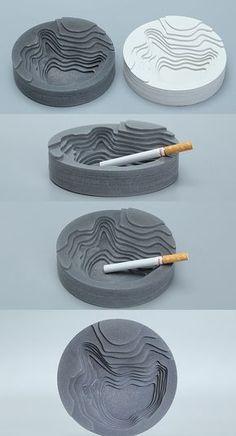 Handmade Round Concrete Cigar Cigarette Ashtray - Concrete Design - Handmade Round C