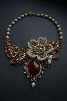 639209ff8e9  CornelianNecklace  Statementnecklace  stonenecklace Bead Embroidery Jewelry