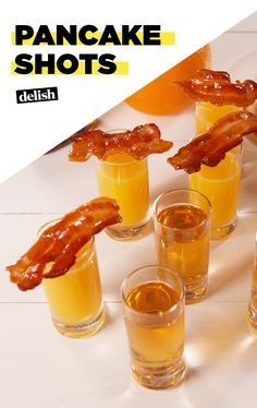 Shots Pancake Shots are the best way to get lit at brunch. Get the recipe at .Pancake Shots are the best way to get lit at brunch. Get the recipe at . Jello Shot Recipes, Alcohol Drink Recipes, Jello Shots, Easy Shot Recipes, Water Recipes, Party Drinks, Fun Drinks, Party Shots, Brunch Drinks