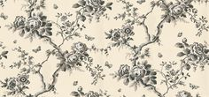 Ashfield Floral (PRL027/03) - Designers Guild Wallpapers - A remarkable floral design, full of romantic character but with a contemporary approach, and versatile in its range of colours. Shown here in etched black. Please request a sample for true colour match. Wide width paper.