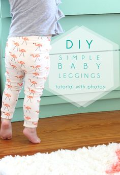 A simple diy baby leggings tutorial even a beginner at sewing can master! Just grab a pair of leggings that fit your baby perfectly, and I'll show you how to make a simple pattern. Baby Dress Patterns, Baby Clothes Patterns, Clothing Patterns, Sewing Patterns Baby, Sewing Baby Clothes, Baby Clothes Shops, Barbie Clothes, Toddler Clothes Diy, Sewing Pants