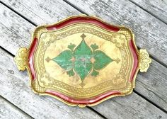 Vintage Florentine Tray Made in Italy Moulded plastic Ornate with green and red accents by StudioVintage on Etsy