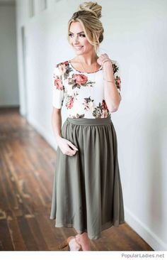 Floral top and a grey midi skirt