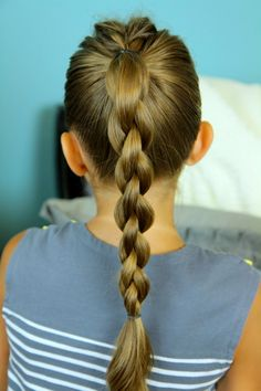 Single Frenchback into a 3-D Braid from Cute Girls Hairstyles