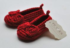 Ruby Red Baby Slippers with Bow - Peaces by Cortney https://www.etsy.com/shop/peacesbycortney