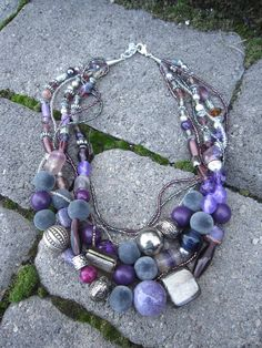 Jewelry, Necklace, Beaded Necklace.  This is what I call a Statement Necklace!  Love purple and silver together!  What's your color?  Check out more color options in my Etsy shop.  Favorite any one of them and I'll send you an exclusive coupon code just to say thanks!  $35