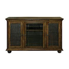 Woven Leather Door TV Console