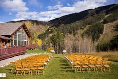 Beano's Cabin wedding ceremony site in Beaver Creek, Colorado. Photos by IN Photography.