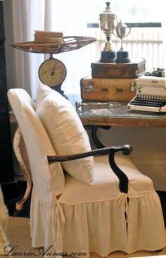 Chair cover---LaurieAnnas Vintage Home Farmhouse Bedroom makeover at our 1894 Texas farmhouse using vintage elements with an equestrian chic theme. Home Office, Shabby Chic, Slipcovers For Chairs, Slipcover Chair, Inspired Homes, Diy Furniture, Bedspread, Decoration, Upholstery