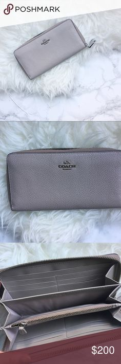 SOLDCoach grey pebble leather zip wallet Gorgeous grey pebble leather zip up wallet. Accordion style zip. NWT. No trades. Coach Bags Wallets