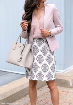 office outfit for work. fashion for young professionals. cute outfits for work. pink and grey outfit