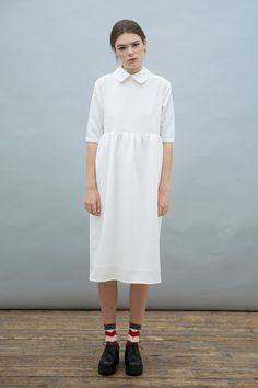 Oversized Midi Smock Dress with Collar Ivory www.thewhitepepper.com/collections/sale-dresses/products/oversized-midi-smock-dress-with-collar-ivory