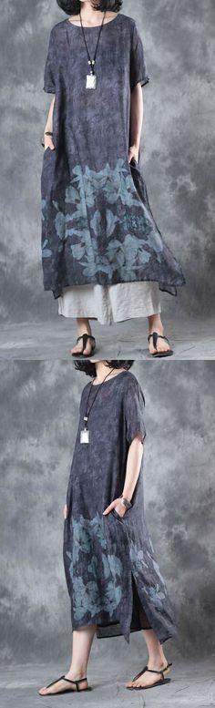 2017 baggy dark gray prints linen dresses plus size casual sundress short sleeve maxi dress