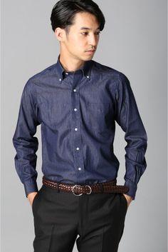 デニム BD  デニム BD 5832 カジュアルの定番デニムシャツ アームホールをジャケットのように形状に合わせているのでドレスシャツのようなすっきりとしたシルエットに 光沢感のある素材がキレイめな印象でネクタイを締めてドレスダウンに最適なアイテムです モデルサイズ:身長:185cm バスト:83cm ウェスト:72cm ヒップ:93cm 着用サイズ:38