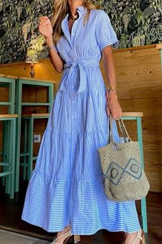 2021 New Short sleeve maxi dresses vacation office lady strip dresses Maxi Dress With Sleeves, Shirt Dress, Stripped Dress, Vacation Dresses, Office Ladies, Blue Dresses, Maxi Dresses, Dress Brands, Green Dress