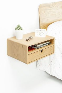 White Floating Nightstand Bedside Table Drawer In Solid Oak. How To Build A Floating Nightstand That Matches Your Bedroom. Home and Family Floating Drawer, Floating Nightstand, Floating Shelves, Nightstand Ideas, Bedside Tables, Bedside Drawers, Small Space Living, Cool House Designs, Mid Century Furniture