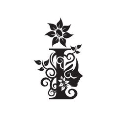 Flower Clipart - Black Alphabet I with White Background | Download Free Flower…