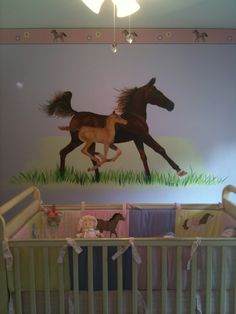 Horse mural in Baby's room. One of my most fun projects to date. Pjmurals.com