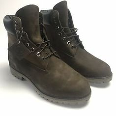 3354a0714b9 Details about Timberland Brown Boots Mens Waterproof Leather Size 9W 10001  Embossed Logo