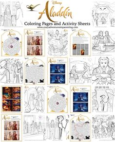 Aladdin Coloring Pages and Activity Sheets for kids are here in time for celebrate the live action movie in theaters! Jasmine, Aladdin, and Genie are back! Mermaid Coloring Pages, Disney Coloring Pages, Free Printable Coloring Pages, Castle Coloring Page, Boo Sign, Activity Sheets For Kids, Disney Diy, Activities To Do, Colorful Drawings