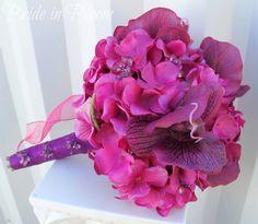 Fuchsia wedding bouquet purple orchid bridal bouquet silk wedding flowers.